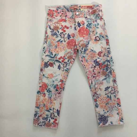 NWT Girls floral jeans